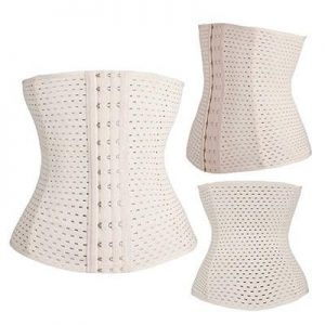 Three white corsets on white background.