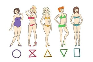 Different types of body shape on the white background
