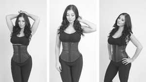 Model showing black LaTeX waist trainer