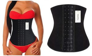 sexy model in YIANNA Women's Latex Sports Girdle Waist Training Corset Waist Shaper