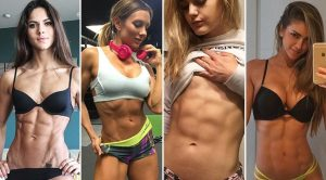 Four girls' abs show.