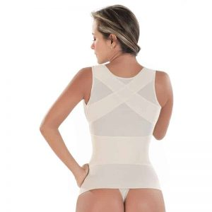 Woman wearing white girdle on the white.