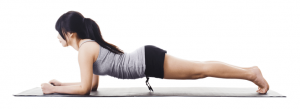 Woman is doing plank exercise.