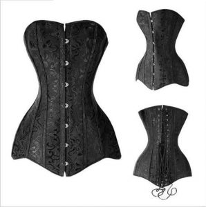 Three black overbust long-line corsets on white background.