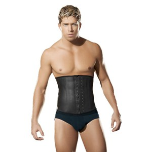 a strong man wearing a waist training corset