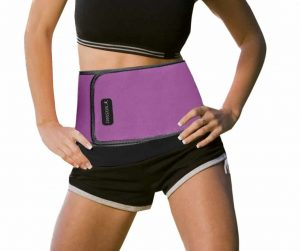 Model with purple waist trimmer belt on white background.