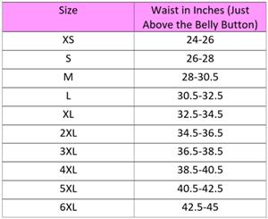 Specific waist size chart