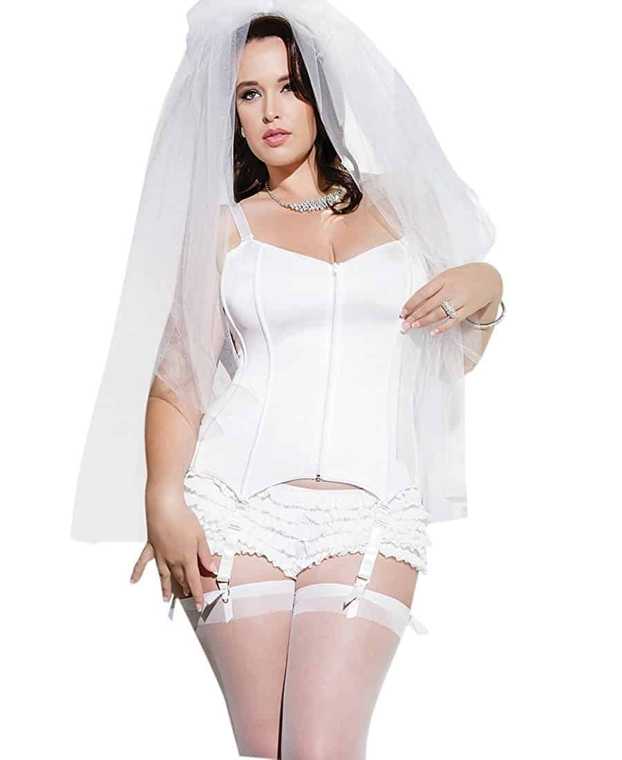 Model with Coquette Plus Size Fully Boned Stretch Knit Corset on white background.