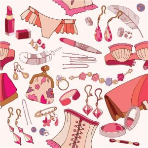 Woman accessories seamless pattern, underwear, cosmetics, jewelry, fashion background.