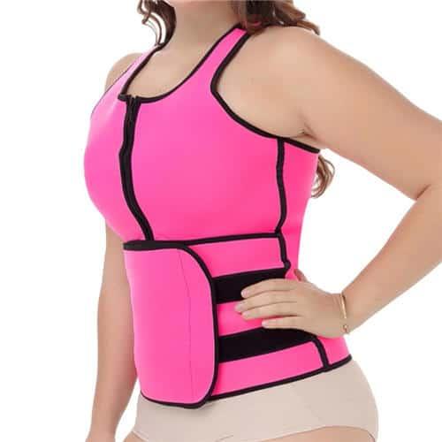 Model in FeelinGirl Tank Top Vest with Adjustable Waist Trimmer Belt on white background.