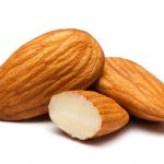 Closeup of almonds, isolated on the white background, clipping path included.