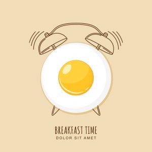 Fried egg and outline alarm clock, vector illustration of breakfast.