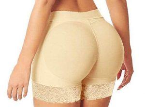 HelloTem Women Lace Padded Seamless Butt Hip Enhancer on model.