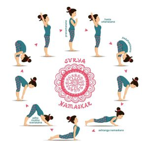 Yoga set Surya Namaskar. Illustration.
