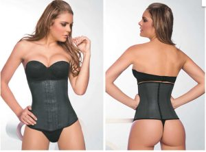 Ann Chery waist trainer with model.