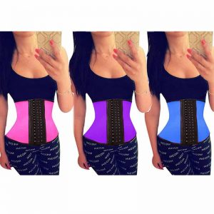 Three different color of waist training corsets