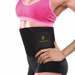 Perfotek Waist Trimmer Belt with model on white background.