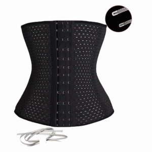 Black Weight Loss Belts Sports Girdle on white background.