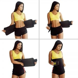 Woman putting on ActiveGear Premium waist trimmer belt