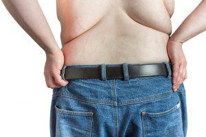 Man's back fat
