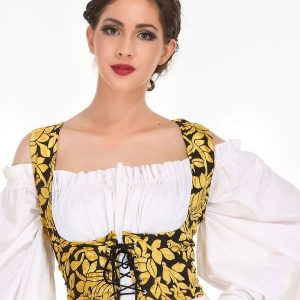 Yellow bodice style underbust corset
