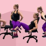 Woman showing the chair workouts on pink background