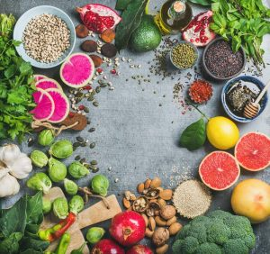 Clean eating concept over grey concrete background