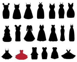 Silhouettes of corset dresses on white background