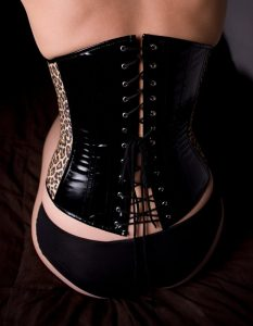 Waist training leather corset