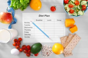Sheet of Diet Plan and fresh products on wooden table, top view.