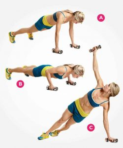 Dumbbell pushup row exercise