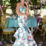 Fitted Floral print strapless corset prom dress