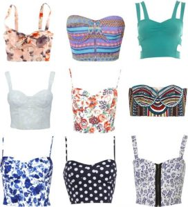 Different styles of hipster corset tops