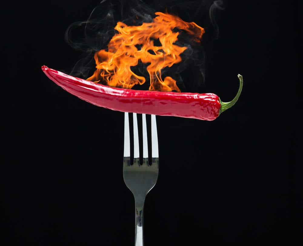 Hot chilly on fork with fire.