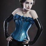 Dark blue latex corset