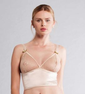 Woman wearing skin color long line bra