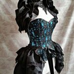 Gothic black and green masquerade corset