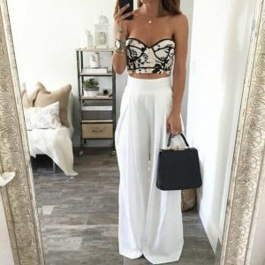 Black and white corset top with long pants