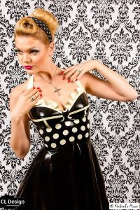 Polka dotted rockabilly corset