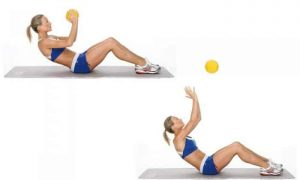 Situp and throw exercise on white background
