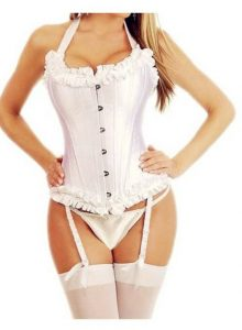 White steel-boned lace up corset
