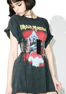 Corset belt over a T-shirt dress