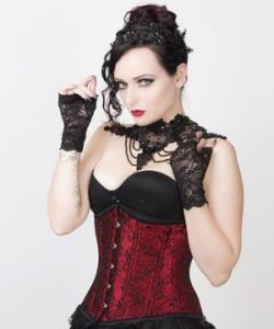Black and red underbust corset