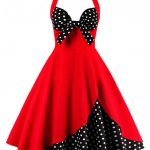 Red and black bowknot vintage corset dress