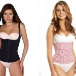 Waist cincher and corset with model on white background.