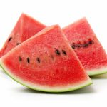 Slice of watermelon on white background.