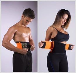 Woman and man wearing workout waist trainer